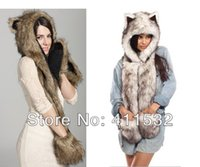 Wholesale Fashion hat female winter animal cap faux fur one piece cartoon cap belt scarf Christmas gifts HA29121