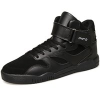sports shoes skateboard - Fashion Stylish Leather Patchwork High Top Shoes Sneakers Mens Velcro Strap Skateboard Shoes Hip Hop Sport Shoes For Tide Boys Young Man New