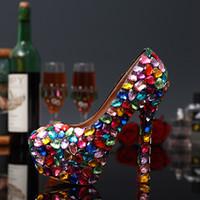Wholesale Amazing luxury colorful rehinestone jewels thin heels bride wedding party evening dress runway platform princess shoes DHL