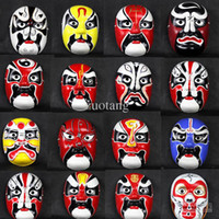 beijing mix - Unique Beijing Opera Masks China style Paper Pulp Full Face Masquerade Masks for Men Festive Birthday Party Decorative mix color
