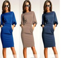 Casual Dresses plus size club dresses - 2015 hot sale plus size dresses women club dresses women clothes knee length casual dresses Puff Sleeve Round neck sheath dress dressS XXL
