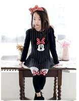 jumper dress - 2015 Minnice Mickey Mouse Dot Bow Striped Ruffle Dress Kids Clothes Jumper Pullover Dresses Girls Children Clothing Fashion D5462