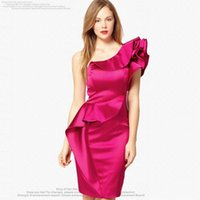 Cheap Spring 2015 New Sexy Dress Women Oblique One-Shoulder Flounced Collar Designer Runway Dresses 4 Solid Colors Party Wear Clothing S-XXL