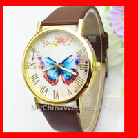 antique auto battery - 6 Multi Colors Dress Watches New Leather Band Stylish Butterfly Fashion Women s Wristwatches Rome Numbers no Scale Geneva Watch Quartz Auto