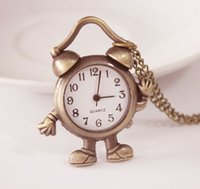 alarm pocket watch - New arrival cute Bronze antiques Design fashion Small alarm clock Pocket watch necklace children watches gift