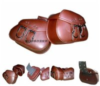 Wholesale Brown Black PU Motorcycle leather Saddle Bags x universal motorcycle bag tank left right Pouch for Harley New