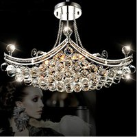 Wholesale 6 Bulbs European LED Candle Crystal Ceiling Chandelier Light Pendant Fixture Hanging Lusters Lighting Lamp E14 Bulb Dining Room
