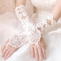 Wholesale Lace Bridal Gloves Bridal Accessories Cheap Wedding Gloves Red White Ivory Bow Hollow Sequins Simple New Arrival