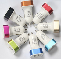 Wholesale 500pcs The New Double Color Metal USB Car Charger Double Port Bullet Travel Car ChargeCharger For Home Travel With US UK EU AU Plug Optional