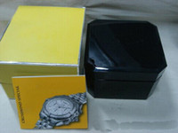 Wholesale 2014 square black wooden box for breitling watches booklet card s and papers in english