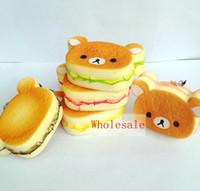 Wholesale 40pcs cm Kawaii Rilakkuma squishy Phone charms Squishies Bun Bag Charm Cartoon Rare Squishy Bread Cell Phone Straps