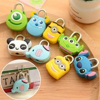 mini padlock - Cute Imagination Silicone Metal Cartoon Mini Lock Small Padlock For Cosmetic Storage Box Backpack Handbag