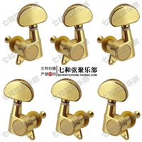 Wholesale 3 Left and right Gold plating half moon handle full enclosed guitar string buttons string axles