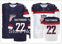 Cheap Factory Outlet, New Customized Men's 2014 Sochi Olympic Team USA #22 Kevin Shattenkirk Blue   White Ice Hockey Jerseys all embroidery logo