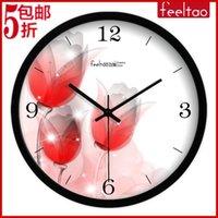 big clock picture - Wall clock big circle silent stone clock picture frame wall clock flower