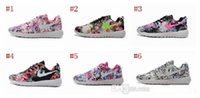 barefoot shoes - New Design Roshe Run Floral Flower Women Running Shoes Hot Sale London Mesh Barefoot Sports Sneakers Casual Eur Size