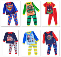pajamas for children - Superman Pajamas for boys turtle pajama Sets Children Cartoon Sleepwear Nightgown Top Quality