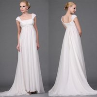 Wholesale Cheap Empire Maternity Wedding Dresses With Cap Sleeves Ruffles Sweep Train A Line Backless Chiffon Beach Bridal Gown Dresses