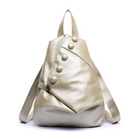 Wholesale Hot Newest European and American Style Water washed Leather Buttons Backpack Fashion Leisure Locomotive Package