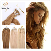 """Cheap """"300g 18"""""""" 20"""""""" 22"""""""" #613 Bleach Blond INDIAN REMY Human Micro Ring loop Hair Extension 1g s 5A Grade Indian Hair Extension"""