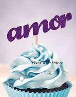 amor bridal - glitter amor cupcake toppers Birthday wedding bridal shower baby shower party foodpicks treat pick