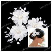 bridal fabric - 3Pcs Hair Pins Tiaras Bride Headpieces New Rhinestone Crystal Luxury Fabric Flower Hair Pin Bridal Wedding Accessories