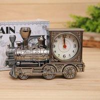 Wholesale Antique Train Locomotive Alarm Clock Table Desk Cartoon Engine Clock Home Decoration sw302