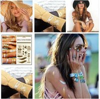Wholesale 2015 Temporary Tattoos Sticker Metallic Tattoo Gold Silver Black X145mm Flash Temporary Tattoos Trendy Body Art Tattoo new Sticker R1194
