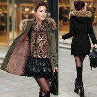 Wholesale European Grand Prix New Winter Coat Long Sleeve Fur Collar Army Green Hooded Thick Women Casual Down