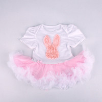 Wholesale Cute Baby girls romper dress Easter Bunny front one piece baby dress jumpsuit w tutu skirt girl shower dress onesies
