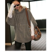 Cheap Womens Loose Sleeve Oversized Casual Hoody Khaki Tops Sweater Jumper Knitwear Long Pullover Free Shipping B22 7384