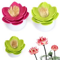 Wholesale Best Sales Chinoiserie Lotus Flower Tooth Pick Toothpick Holder Case Cotton Swab Bud Storage Box Home Decoration order lt no track