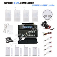 Wholesale Home Security Wireless GSM Alarm System alarm wireless wired zones LCD screen with English voice reminder frees shipping
