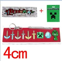 keychina - 4cm Minecraft MC Keychina Necklace Minecraft Sword Three Style For Kids Chindren christmas Gifts Set with box Brand New