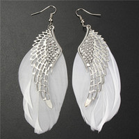 Wholesale Western Style Accessories For Women Fashion Jewelry Angel Wing Feather Earrings Hot Female Dangle Earrings