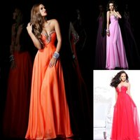 Cheap Colorful Prom Dresses Under 50 Sweetheart Zipper Back Flowing Chiffon Rhinestones Formal Dresses 2015 Dresses Party Evening Custom FY834