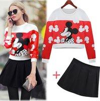 Cheap Fashion Women WInter 2014 Women's Sets Mickey Sweat shirt Mini Short Skirt Fashion Casual Sets Female, Coat Suits Sweater Dres