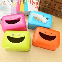 bamboo paper tray - B15 smiley tissue box tray pumping creative paper towel tube waterproof tissue pumping tray kitchen