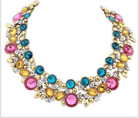 vintage costume jewelry - Retails colors ZA Brand Choker statement Necklace Vintage Costume Chunky necklace women luxury crystal jewelry necklace NE109