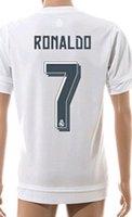 Calidad de Tailandia! 15-16 Temporada Uniforme Madrid Fútbol Fútbol Jerseys bordado Logos # 7 Ronaldo # 8 Kroos # 10 James # 11 Bale 9 Benzema