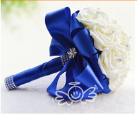 Satin artificial wedding bouquets - Designer Collection Artificial Hand Bouquet For Bride Blue ribbon Creative Gift Wedding Accessories Cheap Rhinestones Bridal Flowers Ivory