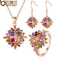 Wholesale BAMOER Luxury K Rose Gold Plated Flower Jewelry Sets More for Women Partry with AAA Multicolor CZ High Quality