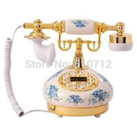antique french porcelain - Golden Eagle Corded Antique Porcelain French Telephone Blue flower