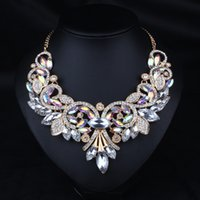 Wholesale Luxury necklace fashion statement necklace pendant necklace high quality choker necklace link chain with crystal N416
