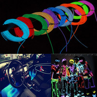 Wholesale 5M Flexible Neon LED Light Glow EL Wire String Strip Rope Tube Car Dance Party Controller Decorative Strip Lights