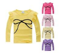 Cheap freeshipping new 2014 autumn Korean children bow T-shirts baby girls long sleeved bottoming tshirts