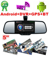 Cheap 5 Inch Android Capactive Touch Screen Rear view Mirror Car DVR+HD night vision Rear View camera+GPS Navi function+Bluetooth+Wifi