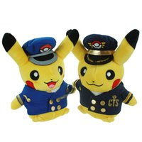 american airlines toys - Poke Plush Toys cm Airline Captain Station Manager Pikachu Euro American Movie Plush Stuffed Toys