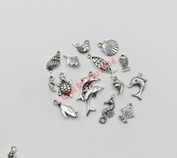 floats for fishing - 100Pcs Mixed Tibetan Silver Plated Marine Animals Shell Penguin Fish Charms Pendants for Jewelry Making DIY Floating Locket Charms Handmade