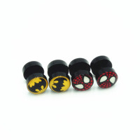 batman barbell - Fashion Acrylic Barbell Earrings Punk Batman Spider Man Charms Black Barbell Stud Earrings Brincos Jewelry For Men Women